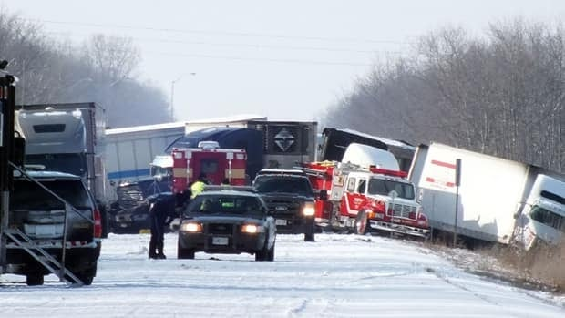 A massive pileup on Highway 402 near Sarnia, Ont., has left two people dead.
