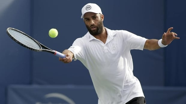 James Blake during a game against Rhyne Williams on August 19, 2013 in Winston Salem, North Carolina.