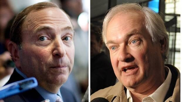 NHL commissioner Gary Bettman, left, and NHLPA executive director Donald Fehr will meet with IIHF president Rene Fasel mainly about NHL participation at the 2014 Sochi Games.