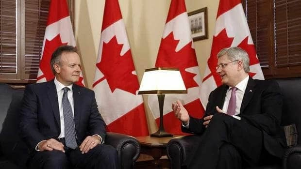 Prime Minister Stephen Harper, right, speaks with Bank of Canada Governor Stephen Poloz the day Poloz took up the post. The new central banker has kept Canada's benchmark interest rate steady at one per cent, but the C.D. Howe Institute thinks he should start inching rates up to avoid real-estate bubbles, excessive household debt, pension-fund woes and other problems.