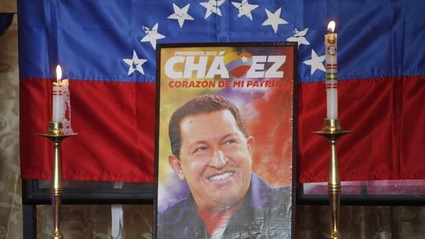 An image of Venezuela's late President Hugo Chavez sits on display at a chapel inside Congress in La Paz, Bolivia.