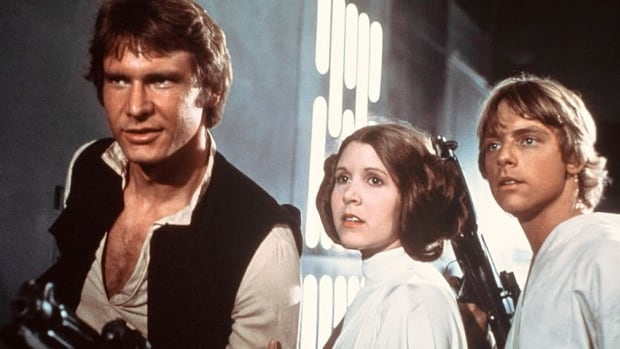 A Navajo dub of the classic film Star Wars is underway with actors to add their voices to the 1977 production starring, from left, Harrison Ford, Carrie Fisher and Mark Hamill.
