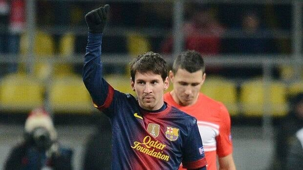 Barcelona forward Lionel Messi celebrates after scoring a goal Tuesday against Spartak. With 56 Champions League goals, Messi is now level in second place in the all-time list with Ruud Van Nisterooy, trailing only Raul Gonzalez (71).