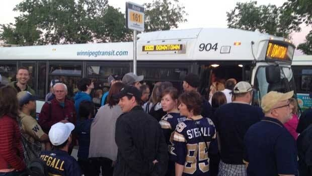 Hundreds of Winnipeg Blue Bombers fans were stuck lining up for shuttle busses as the game ended. It was part of a traffic and transportation nightmare outside the new Investors Group Field.