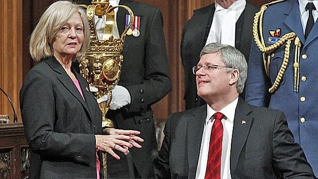 Prime Minister Stephen Harper and his former press secretary, Conservative Senator Carolyn Stewart-Olsen, a member of the internal Senate committee that was investigating senator expenses. Their offices are exempt from access to information laws.