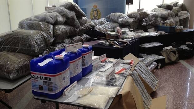 RCMP show off drugs and weapons Tuesday seized in traffic stops across northern Alberta over the first thre months of this year.