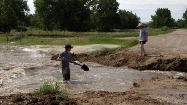 Ian Ferguson's ranch near the South Saskatchewan River is flooded.