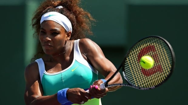 Serena Williams plays a match against Flavia Pennetta of Italy during the Sony Open at Crandon Park Tennis Center on Thursday in Key Biscayne, Florida.