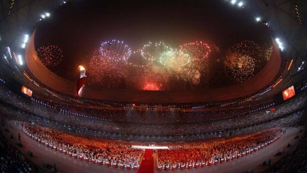 Fireworks are set off over the National Stadium during the opening ceremony of the Beijing Olympic Games in 2008.