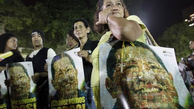 Hugo Chavez supporters took to the streets in Caracas and other cities in Venezuela, March 5, chanting and with signs reading We are all Chavez. The message, which was also on huge billboards during the election last October, is meant to convey the message that Chavez's political movement is more than one man, and presumably can survive his death.
