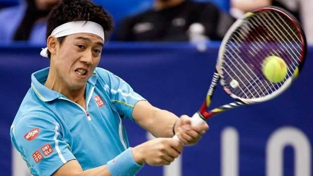 Kei Nishikori returns a shot to Feliciano Lopez in the final round match at the U.S. National Indoor Championships tennis tournament on Sunday in Memphis, Tenn.