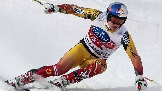Canada's Erik Guay competes in the first training of the World Cup men's downhill on Friday. He placed 10th.