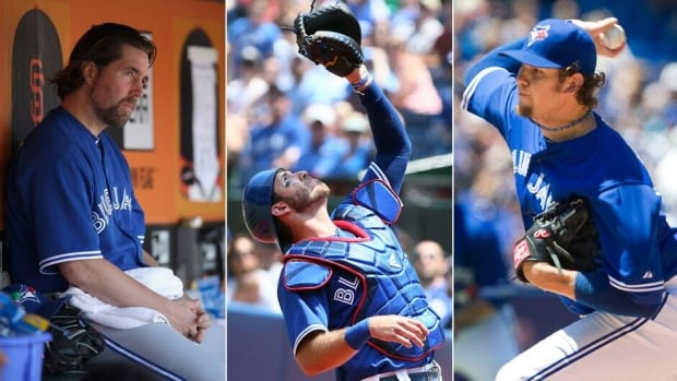 From left to right, Toronto Blue Jays pitcher R.A. Dickey, catcher J.P. Arencibia and righty Josh Johnson haven't been able to vault the Jays into contention coming out of the all-star break.