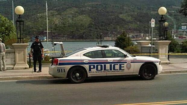 Police had Harbourside Park in downtown St. John's blocked off Friday afternoon, along with a section of Water Street.