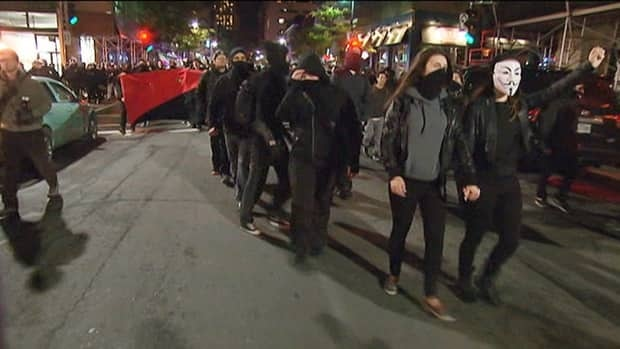 People rallied against police brutality in Montreal on Saturday.