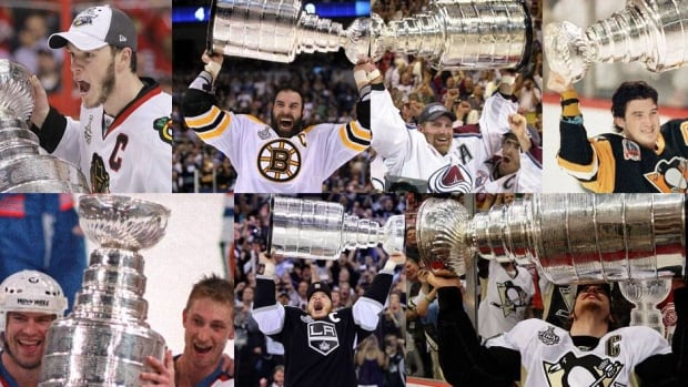 A few past winners of the greatest prize in hockey, the Stanley Cup (clockwise from top left): Jonathan Toews, Zdeno Chara, Ray Bourque and Joe Sakic, Mario Lemieux, Sidney Crosby, Dustin Brown, Wayne Gretzky and Mark Messier.