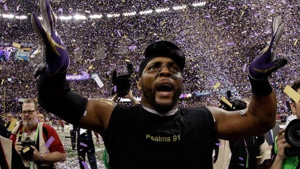 Ray Lewis of the Baltimore Ravens celebrates following their 34-31 win against the San Francisco 49ers during Super Bowl XLVII.