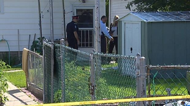 Police investigate the attack on an 86-year-old senior in north Edmonton Tuesday.
