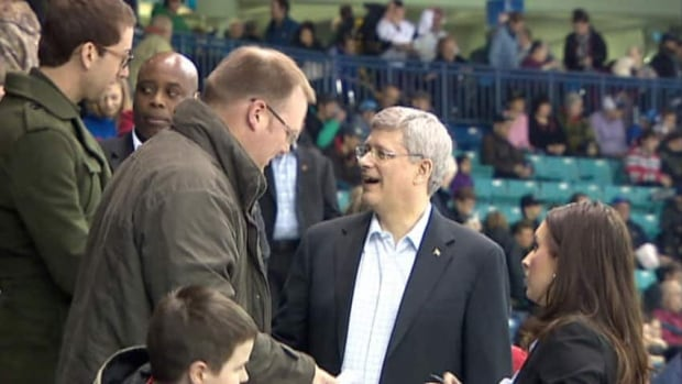 Prime Minister Stephen Harper appeared to be enjoying himself at the Saskatoon Blades game last night.