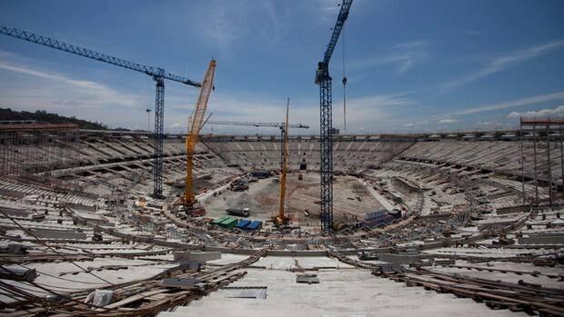 Construction crews worked on the Maracana soccer stadium in Rio de Janeiro last November.
