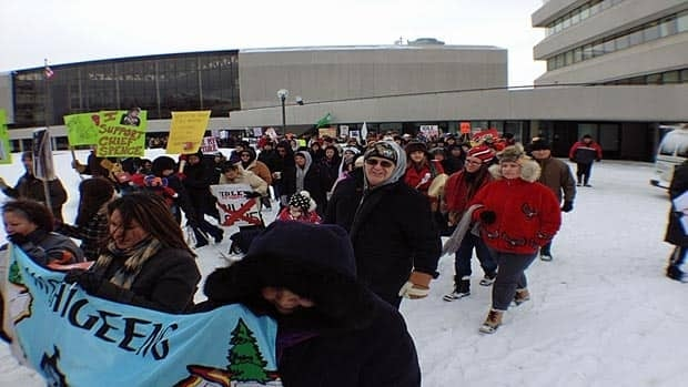 Sudbury Police shut down Paris Street for half an hour as they escorted demonstrators supporting the nationwide Idle No More movement.