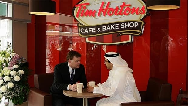 Earlier Tuesday, Foreign Affairs Minister John Baird circulated this photo on Twitter, writing: Got my @timhortons fix with my Emirati counterpart, Sheikh Abdullah bin Zayed Al Nahyan. A diplomatic double double!