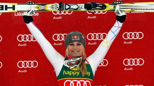 Lindsey Vonn, shown in this file photo celebrating her victory in Lake Louise, Alta. on Dec. 2, 2012, won her sixth-straight World Cup doiwnhill title on Wednesday. That's despite being sidelined the last five weeks after a horrific crash ended her season.