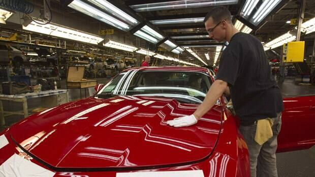 General Motors says it is shifting production of the Camaro from its Oshawa, Ont., plant, seen in this June 2011 photo, to Michigan.