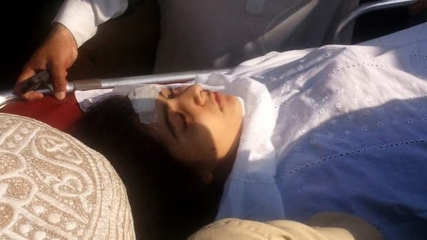 A badly wounded Malala Yousafzai is moved to a helicopter on  Oct. 9 to be taken to Peshawar for treatment in Mingora, Swat Valley, Pakistan. The 14-year-old activist is known for championing the education of girls and publicizing atrocities committed by the Taliban.