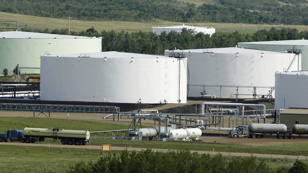 The oil pipeline and tank storage facilities are shown in Hardisty, Alta. Suncor Energy and the Communications, Energy and Paperworkers Union of Canada are calling for a reversal of Enbridge's Line 9 pipeline to ship domestic oil back to Montreal.