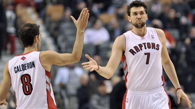Toronto Raptors teammates Jose Calderon, left, and Andrea Bargnani, right, will be on display at Montreal's Bell Centre for a pre-season tilt against the New York Knicks.