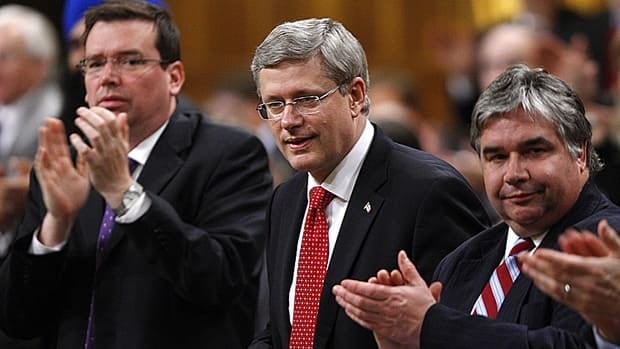 Prime Minister Stephen Harper, middle, Minister of Industry Christian Paradis, left, and Government House Leader Peter Van Loan are recognized as they vote on amendments to the budget Bill C-38 in the House of Commons on June 14.