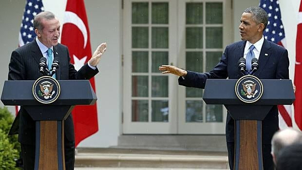 Turkey's Recep Tayyip Erdogan and U.S. President Barack Obama hold a joint press conference on the White House lawn last month. One of America's 'top five' foreign allies.