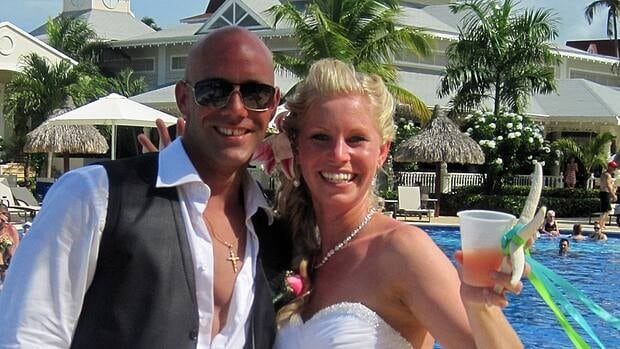 Stacey Vernon and her new husband, Nick Miele, just hours before he was arrested after a fight at the Bahia Principe Esmeralda resort in Punta Cana, Dominican Republic.