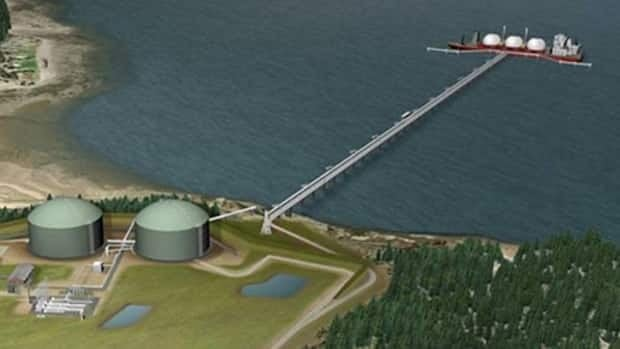 Aerial photosimulation of the Downeast LNG proposal.