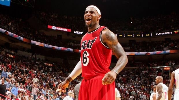 Heat's LeBron James during the game against the Los Angeles Clippers on February 8, 2013 at American Airlines Arena in Miami.
