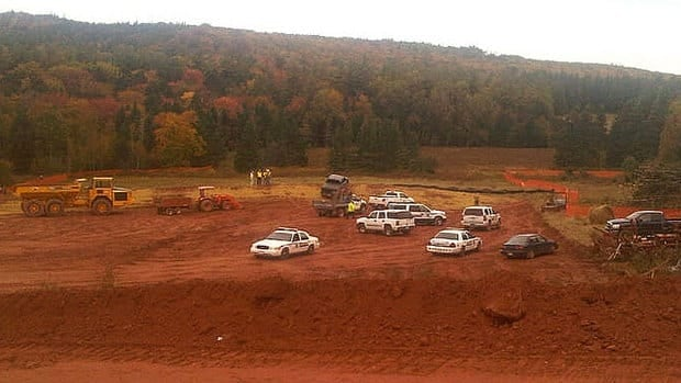 RCMP had a half dozen vehicles at the work site Tuesday.