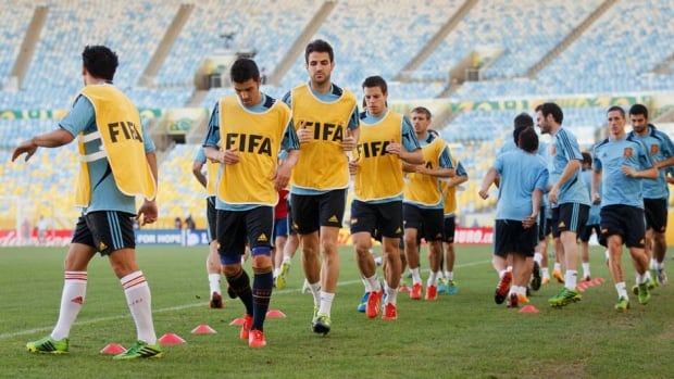 Spain players during a training session ahead of their FIFA Confederations Cup game against Tahiti, at the Estadio do Maracana on June 19, 2013 in Rio de Janeiro, Brazil.