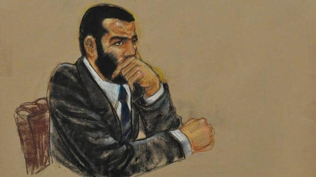 Omar Khadr, seen in Guantanamo Bay in this 2010 court sketch, pleaded guilty to murder in violation of the law of war, among other charges, in a deal that would allow him to finish his sentence in Canada. Public Safety Minister Vic Toews has yet to sign off on his transfer.