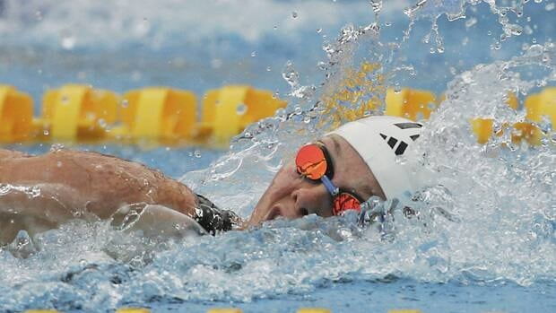 Britta Steffen, shwon in this 2006 file photo, helped her German teammates win the inaugural mixed-gender relay in Dubai on Tuesday.