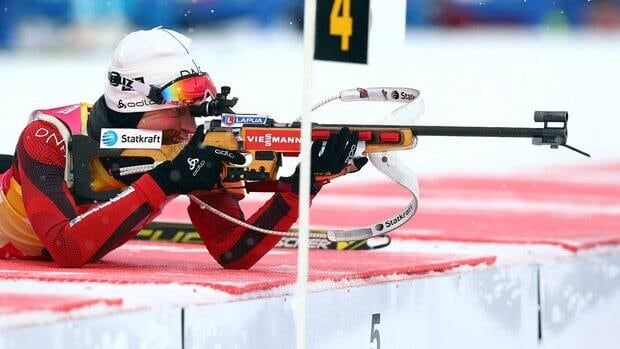 Tora Berger competes at the biathlon world championships Wednesday in Nove Mesto na Morave, Czech Republic.