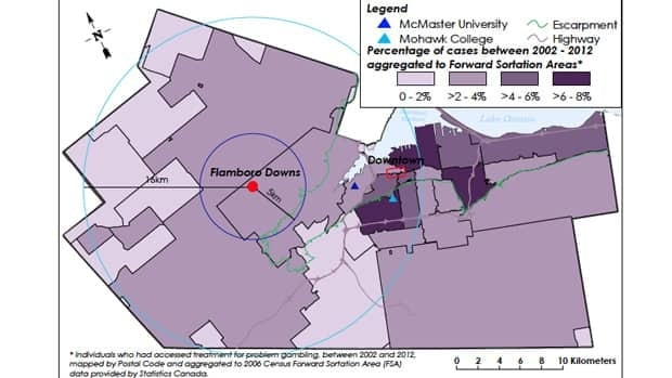 This map shows the percentage of individuals who accessed treatment for problem gambling with Hamilton's Public Health Services from 2002 to 2012. (City of Hamilton)
