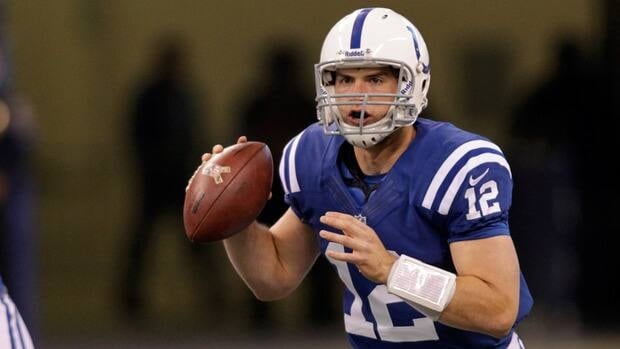 Indianapolis Colts quarterback Andrew Luck looks to throw against the Miami Dolphins during the first half.