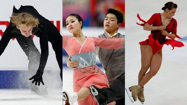 Artur Gashinski, left, the Shibutani siblings, centre, and Alena Leonova have all had disappointing showings this Grand Prix season.
