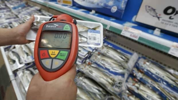 A worker uses a geiger counter to check for possible radioactive contamination of fish at a market in Seoul, South Korea. The country banned all fishery imports from a swath of Japan around the crippled Fukushima nuclear plant on Friday.