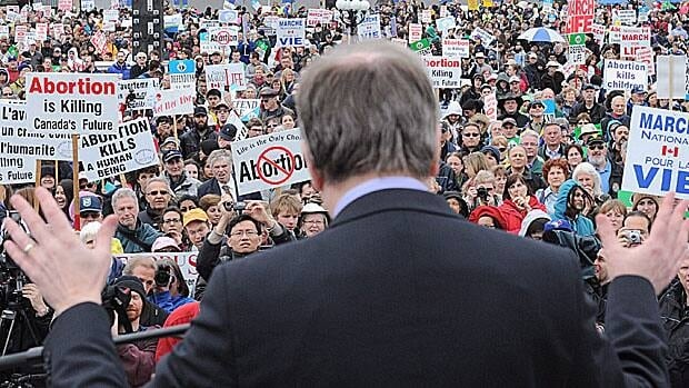 Conservative MP Stephen Woodworth speaks to thousands of demonstrators gathered on Parliament Hill Thursday for the annual March for Life anti-abortion protest. Woodworth has a motion in front of the House of Commons seeking a special study into when life begins.