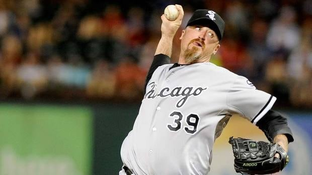 Brett Myers, here throwing in relierf for Chicago last July, is expected to challenge for a starting spot with Cleveland after signing on Tuesday.