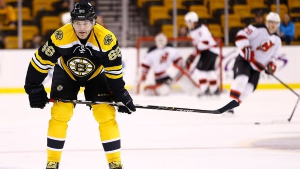 Jaromir Jagr of the Boston Bruins warms up prior to the game agains the New Jersey Devils on Thursday at TD Garden in Boston, Mass.