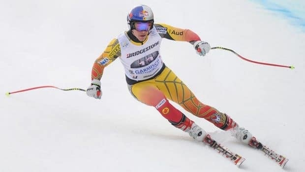 Canadian Erik Guay finished first in a downhill training run on Friday in preparation for the World Cup race on Saturday.