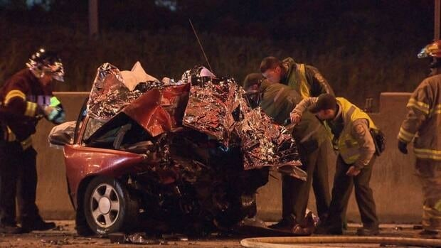 One person is dead and four others were taken to hospital with injuries after a head-on collision on Highway 40 in Montreal.